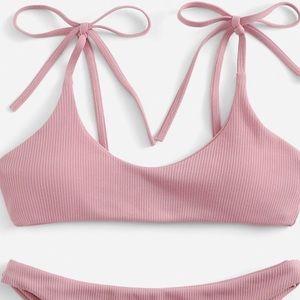 Shein Dusty Pink Ribbed Bikini Set